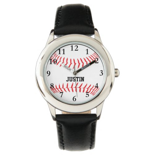 Baseball Personalized Name Boys Watch