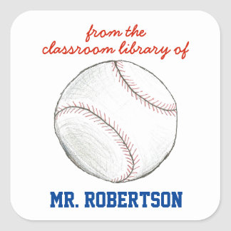 Baseball personalized teacher gift bookplate