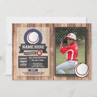 Baseball Photo All Star Sports Party Birthday Invitation