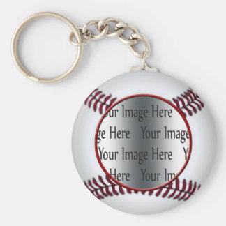 baseball photo basic round button keychain