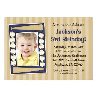 Baseball Photo Birthday Party Blue Invites
