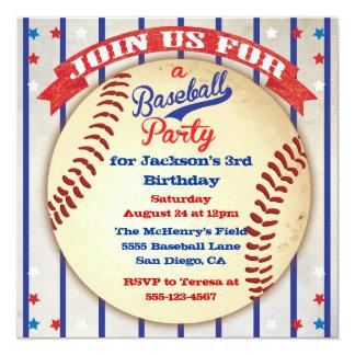 "Baseball Photo Birthday Party Invitation 5.25"" Square Invitation Card"