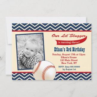 Baseball Photo Birthday Party Invitations