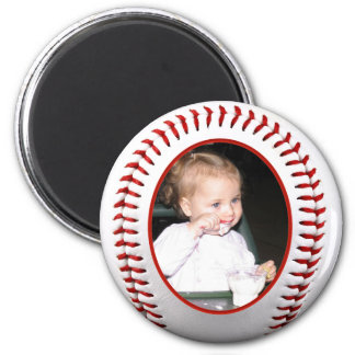 Baseball Photo Frame Template 2 Inch Round Magnet