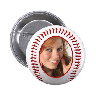 Baseball Photo Frame Template Pinback Button