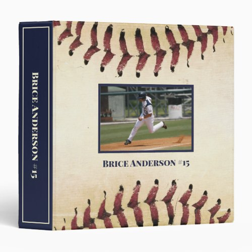 Baseball Photos Rustic Memory Scrapbook 3 Ring Binder