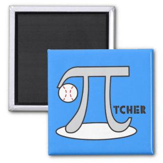 Baseball Pi-tcher - Funny Pi 2 Inch Square Magnet