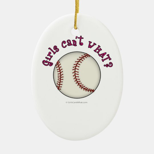 Baseball-Pink Ceramic Ornament