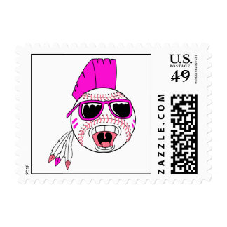 baseball pink girl punk vector design graphic postage stamp