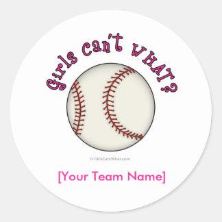 Baseball-Pink Classic Round Sticker