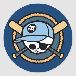 Baseball Pirate -Boys Classic Round Sticker