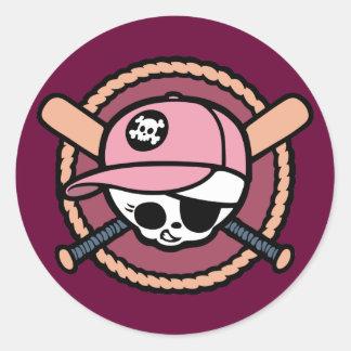 Baseball Pirate -Girls Classic Round Sticker