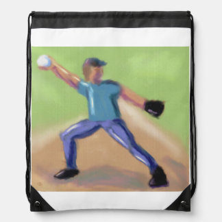 Baseball Pitcher Art Drawstring Bag
