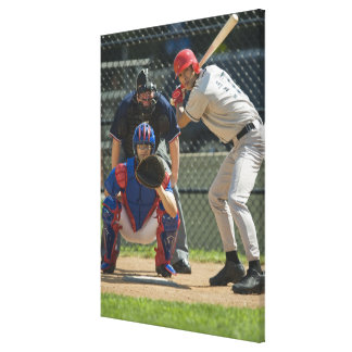 Baseball pitcher, batter and umpire in ready gallery wrap canvas