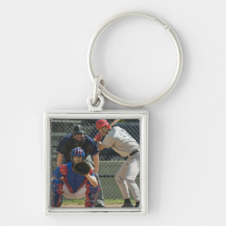 Baseball pitcher, batter and umpire in ready keychain