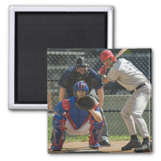 Baseball pitcher, batter and umpire in ready magnet