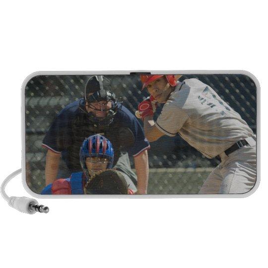 Baseball pitcher, batter and umpire in ready portable speaker