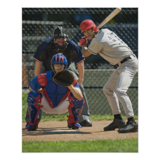 Baseball pitcher, batter and umpire in ready posters