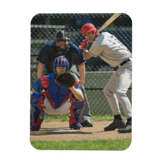 Baseball pitcher, batter and umpire in ready vinyl magnets