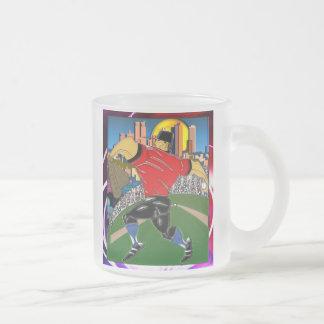 Baseball Pitcher Frosted Glass Coffee Mug