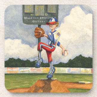 Baseball Pitcher on Mound by Jay Throckmorton Beverage Coaster