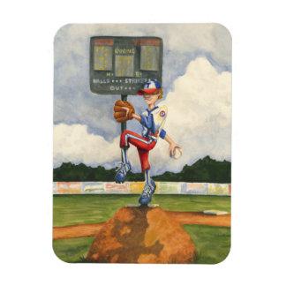 Baseball Pitcher on Mound by Jay Throckmorton Magnet