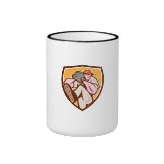 Baseball Pitcher Outfielder Leg Up Shield Cartoon Coffee Mugs