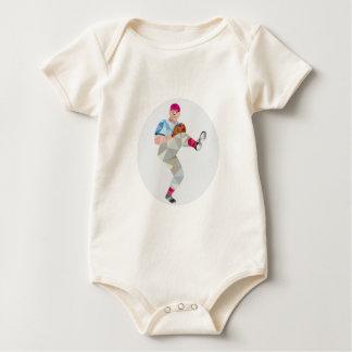 Baseball Pitcher Outfielder Throw Leg Up Low Polyg Baby Bodysuit