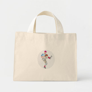 Baseball Pitcher Outfielder Throw Leg Up Low Polyg Mini Tote Bag
