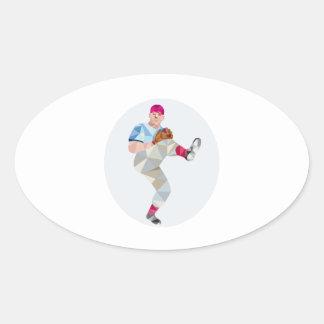 Baseball Pitcher Outfielder Throw Leg Up Low Polyg Oval Sticker