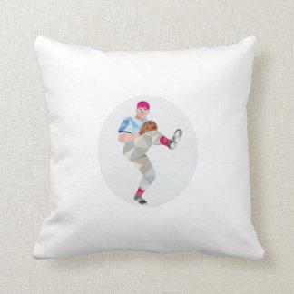 Baseball Pitcher Outfielder Throw Leg Up Low Polyg Pillow