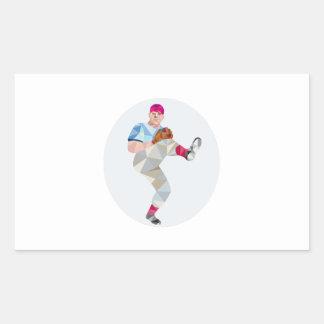 Baseball Pitcher Outfielder Throw Leg Up Low Polyg Rectangular Sticker