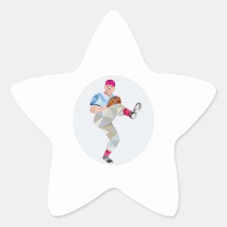 Baseball Pitcher Outfielder Throw Leg Up Low Polyg Star Sticker