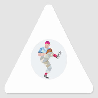 Baseball Pitcher Outfielder Throw Leg Up Low Polyg Triangle Sticker