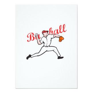 Baseball Pitcher Player Cartoon Custom Invitation