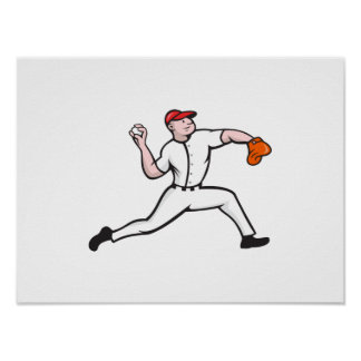 Baseball Pitcher Player Throwing Poster