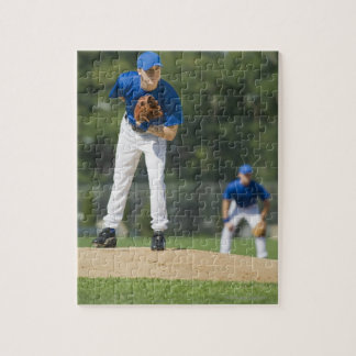 Baseball pitcher preparing to pitch ball puzzles