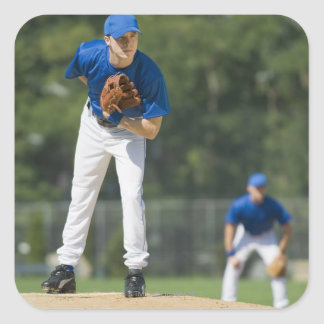 Baseball pitcher preparing to pitch ball square sticker