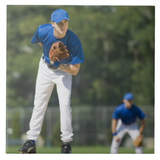 Baseball pitcher preparing to pitch ball tile