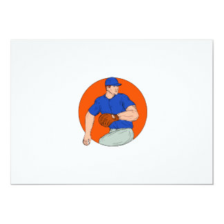 Baseball Pitcher Ready To Throw Ball Circle Drawin Card