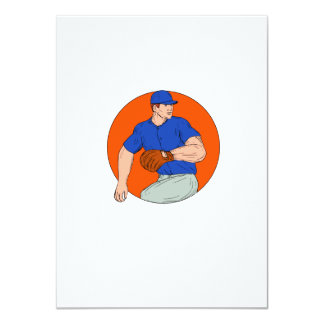 Baseball Pitcher Ready To Throw Ball Circle Drawin Card