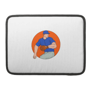 Baseball Pitcher Ready To Throw Ball Circle Drawin MacBook Pro Sleeve