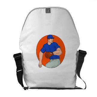 Baseball Pitcher Ready To Throw Ball Circle Drawin Messenger Bag