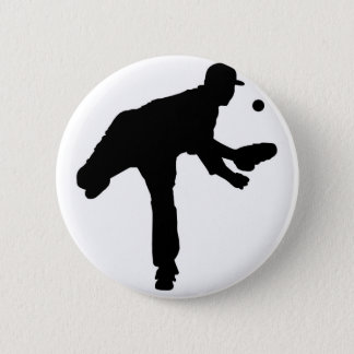 Baseball Pitcher Silhouette Button