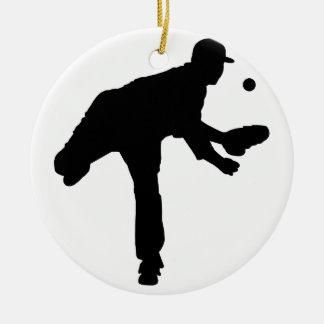 Baseball Pitcher Silhouette Ceramic Ornament