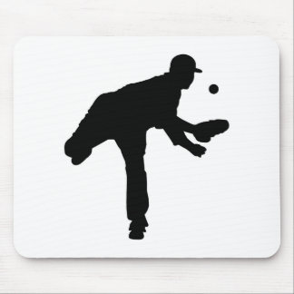 Baseball Pitcher Silhouette Mouse Pad