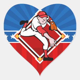 Baseball Pitcher Heart Sticker