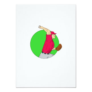 Baseball Pitcher Throwing Ball Circle Drawing Card