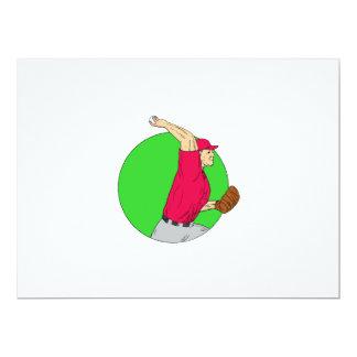 Baseball Pitcher Throwing Ball Circle Drawing Card