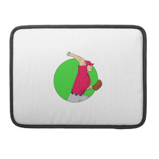Baseball Pitcher Throwing Ball Circle Drawing Sleeve For MacBook Pro